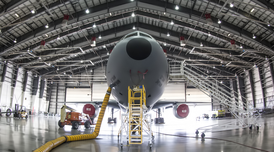 A KC-10 prepares for install of CNS/ATM upgrade